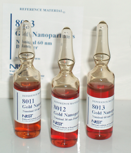 picture of ampoules of NIST's Gold Nanoparticle Reference material